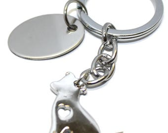 Engraved personalised love heart jack Russell terrier dog keyring pouch AA51a