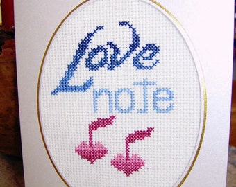 Completed Cross Stitch Card Anniversary  Valentine Card Love Notes Ready to Frame Wedding Card