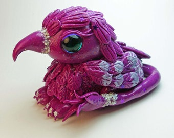 Polymer Clay Fuschia Purple Baby Gryphon Figurine