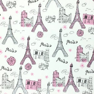 Eiffel Tower, 100% Cotton, Quilting Fabric, Fabric Material, Glitter Fabric, Fabric By The Yard, Paris Quilt Apparel, Fabric Material Online