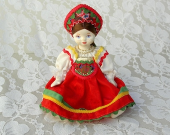 "Adorable Russian Girl Doll, 7"" authentic handmade costume & headdress, hand-painted freckled face, collectible international doll"