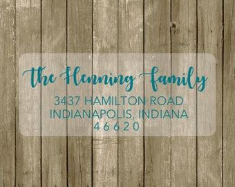 TRANSPARENT Return address label - custom- 2 5/8 x 1 inch rectangular, color font, transparent label, wedding announcements - SET OF 30