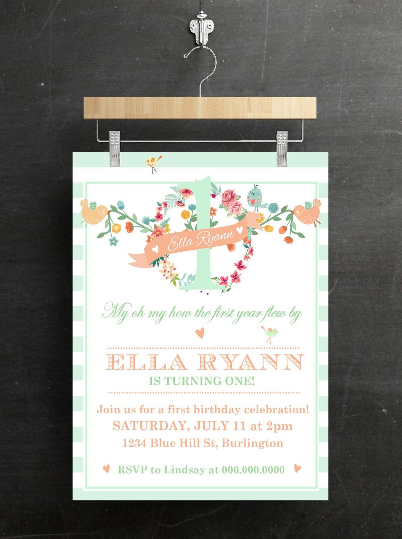 kids Birthday Party Invitations Floral Birds Printable DIY