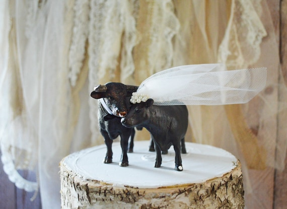 Bull Riding Wedding Cake Toppers