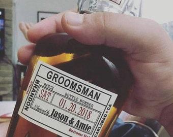 Liquor Flask with Label - Wedding Groomsman Liquor Bottle Flask - Liquor Glass Bottles - Hinged Flask 500ml - bottle, front label, date seal