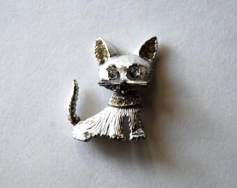 Vintage Costume Jewelry Brooch, Pin, Silver, Cat, Kitten