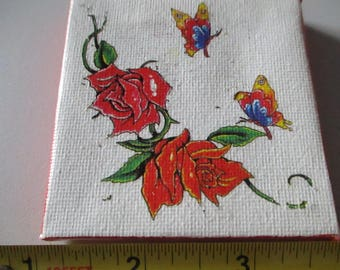 Roses and Butterflies on Canvas