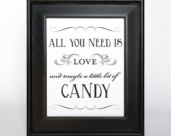 Diy party buffet bar etsy candy bar sign printable all you need is love diy digital file pdf favor signage wedding solutioingenieria Image collections