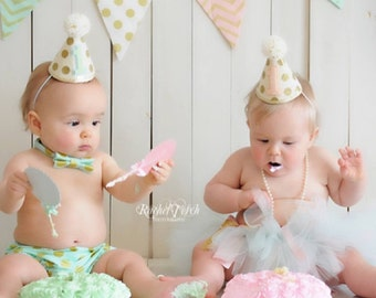 Girl Boy Twins 1st Birthday Gold Polkadot Small Party Hats -Spring- Easter-  Cake Smash Photo Prop