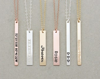 Vertical Engraved Bar Necklace, Name Bar Necklace / Personalized Gold Bar Necklace / Personalized Bar Necklace, Gold Bar, Christmas Gift