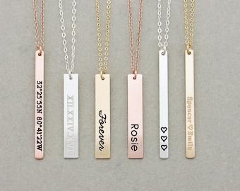 Vertical Engraved Bar Necklace, Name Bar Necklace / Personalized Gold Bar Necklace / Personalized Bar Necklace, Gold Bar, Christmas Gift