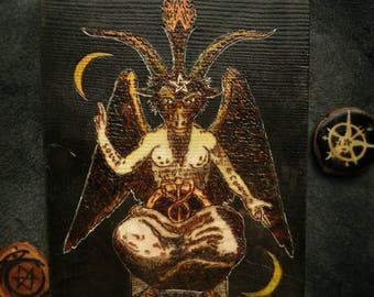 Decorative panno Pyrography Woodburning Baphomet Satanism Pentagram