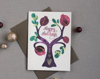 CLEARANCE!!! Folk Tree Holiday Cards : Pomegranates Box of 8