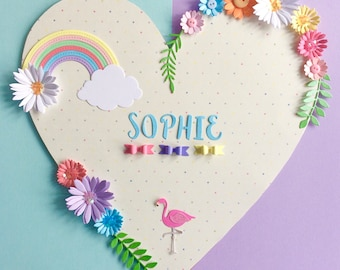 Heart wall name plaque for little girls, new baby, christening, nursery or bedroom
