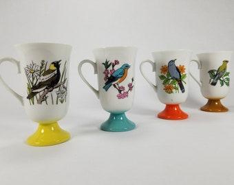 Retro Vintage Bird Mugs Ceramic Colorful Pedestal