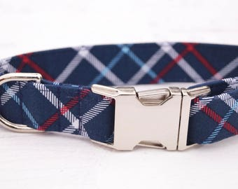 Plaid Dog Collar - Boy Dog Collar - Navy Dog Collar - Summer Dog Collar - Male Dog collar - Girl Dog Collar - Unique Dog Collars