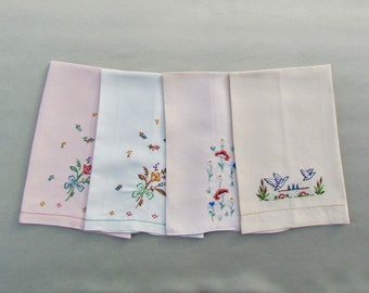 Lot of 4 vintage tea towels or guest towels, pastel linen towels with embroidered flowers and birds