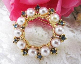 Blue Rhinestone Faux Pearl Bead Brooch Pin Gold Tone