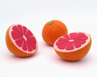 Toy fruits Grapefruit Felt play food Waldorf toys children's Pretend play Baby toys Organic kids toy Baby gift Toddler gift Plush fruits