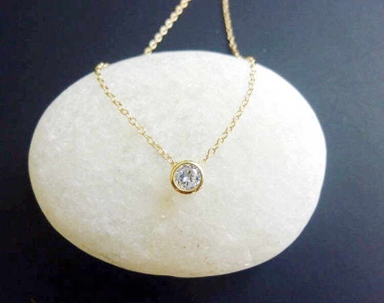 Single diamond necklace solitaire diamond necklace small zoom aloadofball Image collections