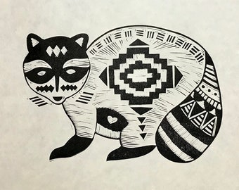 Raccoon - linocut print.