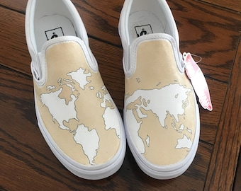 World Map Slip-on Vans