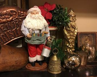 Santa figurine workshop old statue St. Nick Saint Nicholas Santa Claus with tool belt kind Santa collectible doll vintage clothes paintbrush