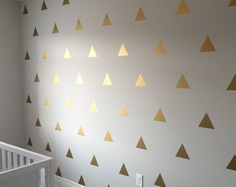 Gold Triangle Wall Decals - Golden Triangle Decals - Gold Vinyl Triangle Wall Art  0036