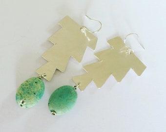 Mint Green Hammered Sterling Silver Earrings  - Moroccan Inspired  - Gypsy - Berber - Festival - Bohemian - Statement - Geometric - Art