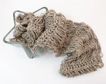 Bronze Crochet Cowl - Lightweight Crochet Infinity Loop Scarf - Vegan - Item 1328