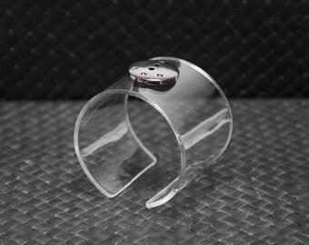 Acrylic (plexiglas/plastic) bracelet, transparent, cuff bracelet, hand made