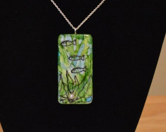 Alcohol Ink Domino Art Necklace With Fishes Under the Sea
