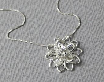 Flower Girl Necklace, Swarovski Crystal Flower Necklace, Bridesmaid Necklace, Bridesmaid Gift, Flower Girl Gift Necklace Flower Girl Jewelry