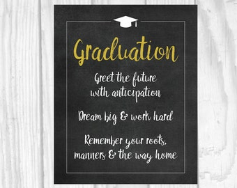 SALE Printable Graduation 5x7, 8x10 Chalkboard Sign - Gold - Greet the Future - Dream Big & Work Hard - Remember Your Roots - Class of 2018