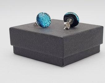 Silver blue crinklised dichroic stud earrings