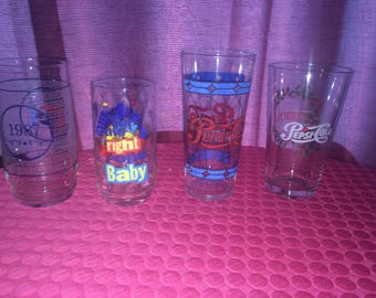 Pepsi Drinking Glasses - Different Styles - Set of 4