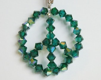 SALE- PEACE SIGN necklace in emerald green, Swarovski crystal