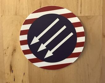 """patriotic anti-fascist sticker 4"""" in diameter"""
