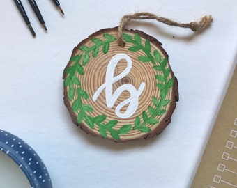 Personalized Wreath Wood Slice Ornament