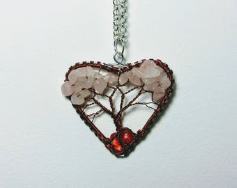 Heart-tree pendant, Rose quartz necklace, Wire Tree of Life Bonsai, Twisted  Jewelry, wire wrapped pendant