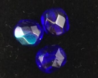 Czech Glass Faceted Rounds, Cobalt Fire Polish, 8mm