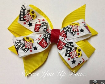 "4"" popcorn yellow red white black movie reel movie night date night hair bow clip birthday party favor baby toddler teen spring summer bow"