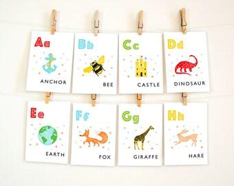 "Printable Alphabet Letters, Alphabet Wall Art, Alphabet Wall Cards, ABC Flash Cards, Nursery Decor, PDF Download 5x7"" and 8x10"""