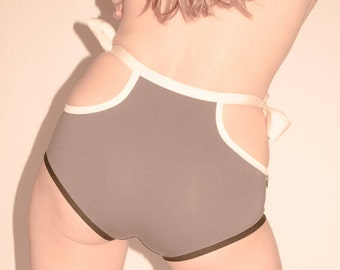 High waist organic cotton panties with bows, eco underwear, organic panties, organic underwear