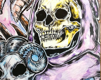 Skeletor He Man   12x16 Archival Print Wall Art Skeleton and Woman  Gothic Punk Art Skull