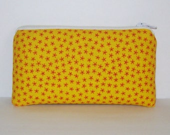 "Pipe Pouch, Yellow Pipe Case, Pipe Bag, Orange Flowers Pouch, Stoner Gift, Cute Pouch, Small Pouch, Padded Pouch, Cannabis Bag - 5.5"" SMALL"