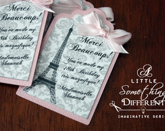 Pink and Gray Damask Layered Favor Tags with Bow / Parisian Favor Tags Pink and Gray / French Favor Tags / Eiffel Tower Thank You Tags