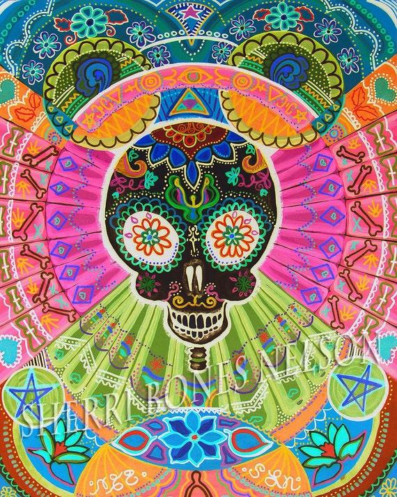 Trippy Skull Poster Psychedelic Art Print neon op art 70s Day