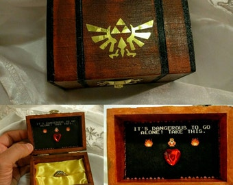"Nintendo inspired Zelda Engagement Ring Box w/ Quote inside ""It's Dangerous to go alone!...Take this"". Hand painted and made to order."