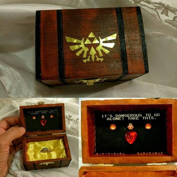 Engagement Ring Box Sale: Nintendo Inspired Zelda Engagement Ring Box W/ Quote Inside